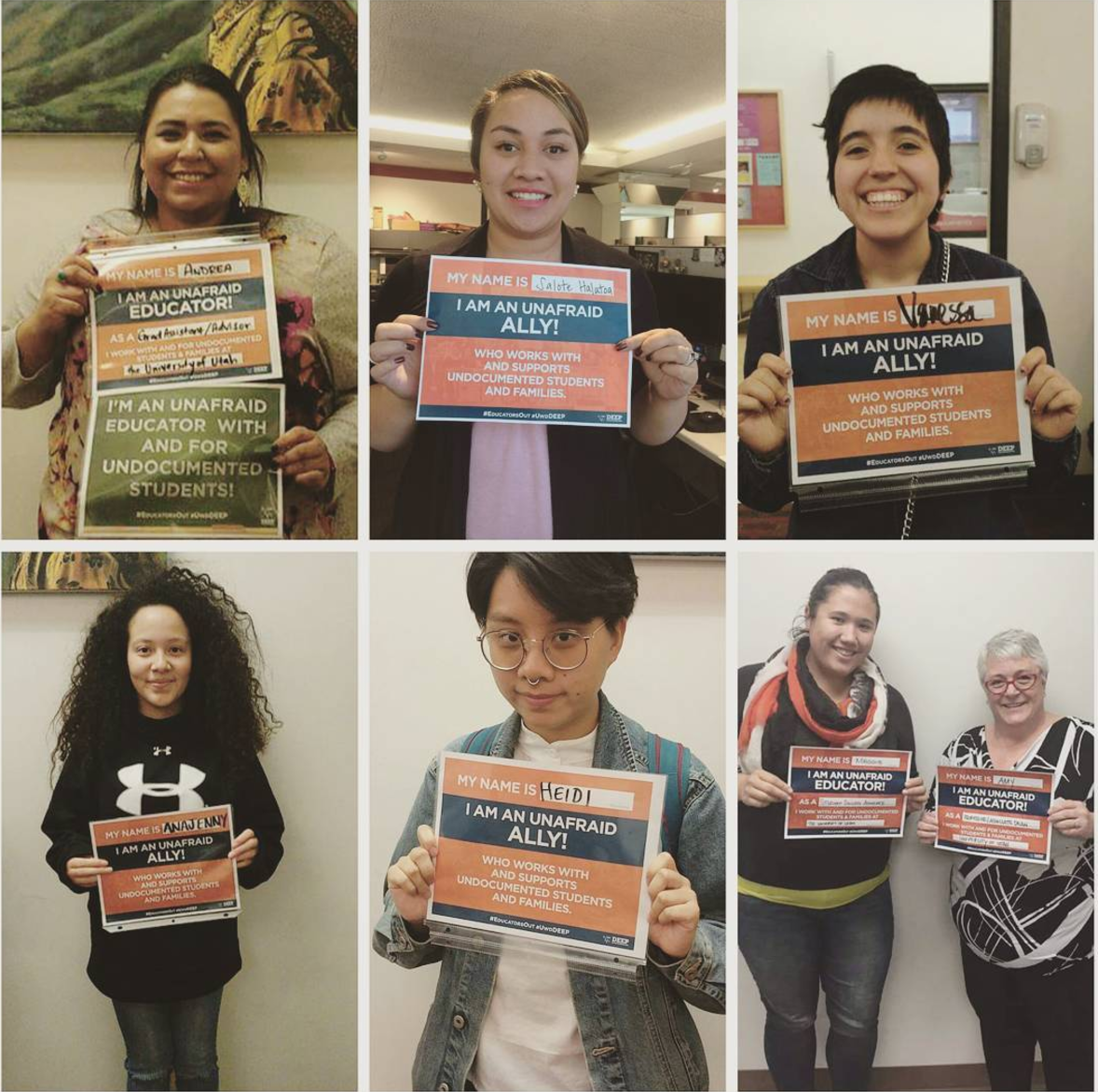 collage of people holding undocumented ally signs