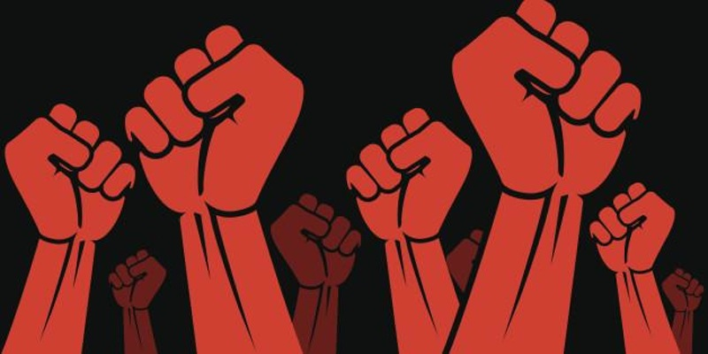 red fists raised in solidarity