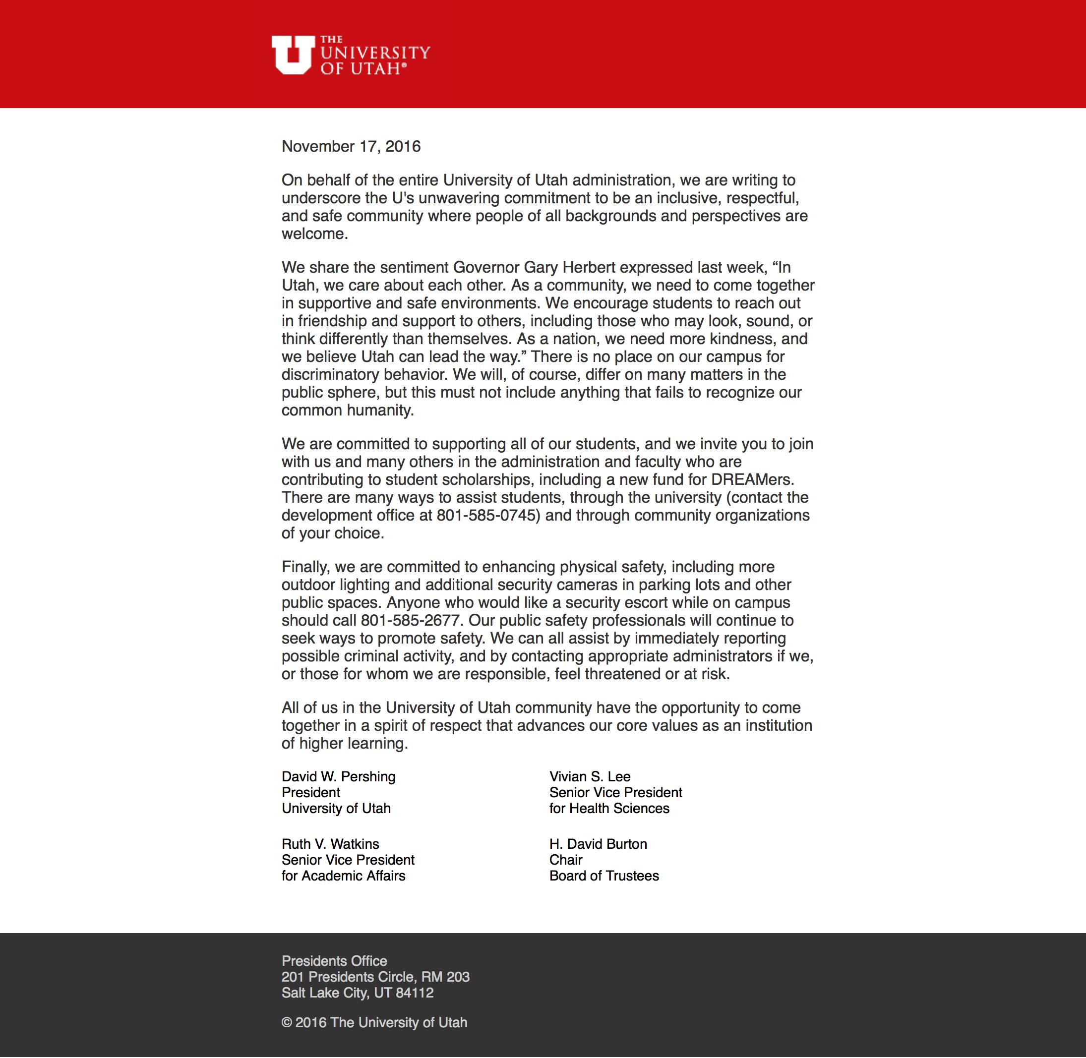 letter by University of Utah leadership