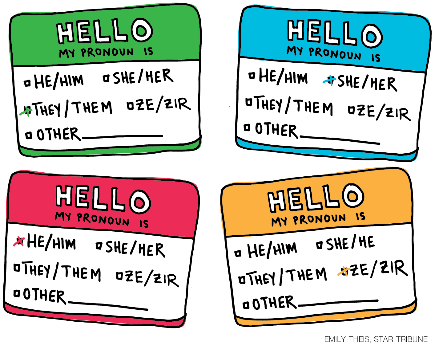 name label stickers with different pronoun options