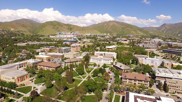 aerial shot of the University of Utah's presidents circle