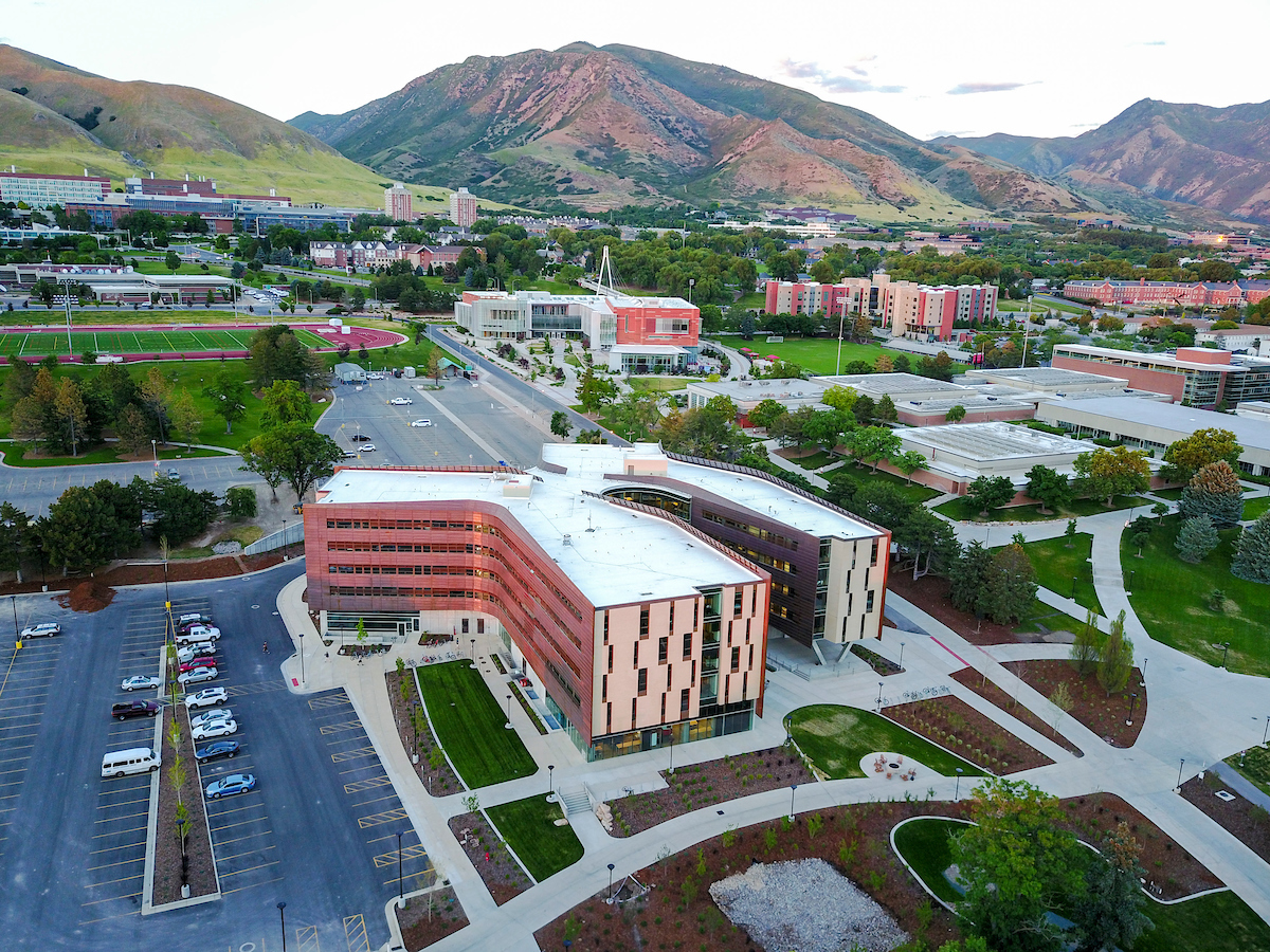aerial view of Lassonde building and parking lot on the University of Utah campus