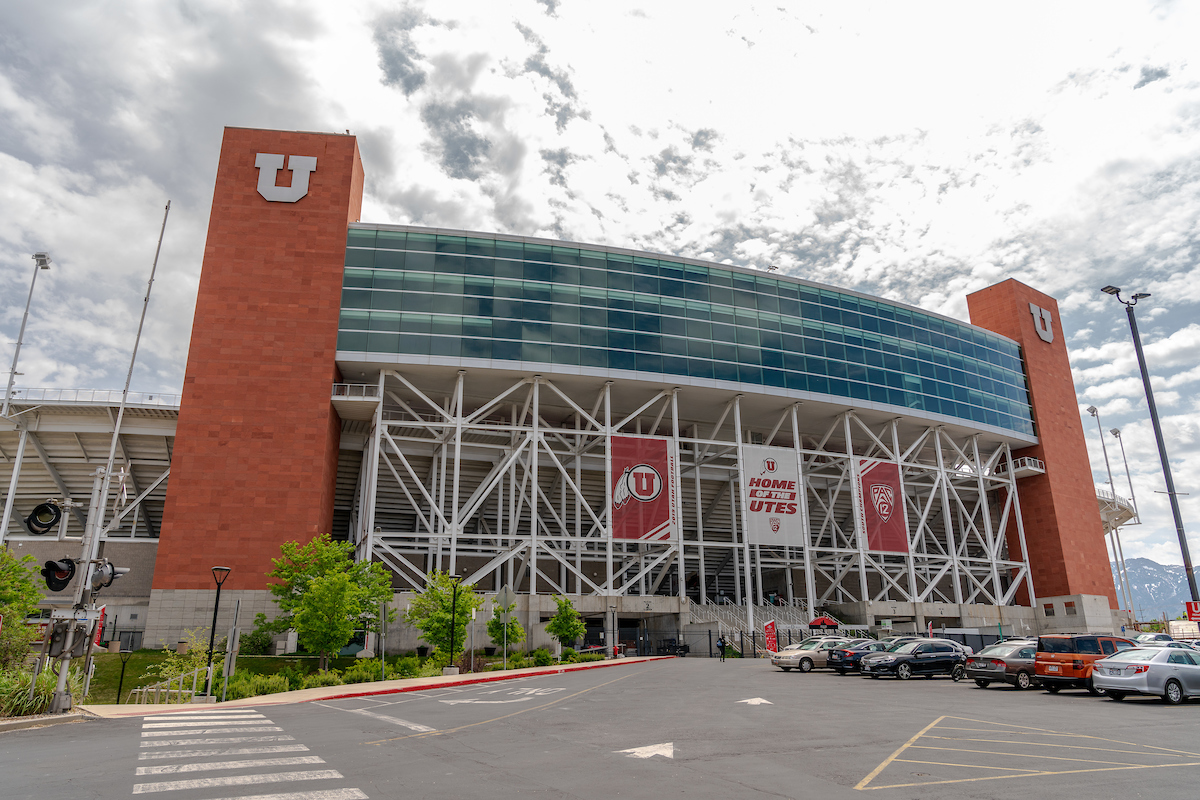 exterior of the Rice-Eccles Stadium and parking lot