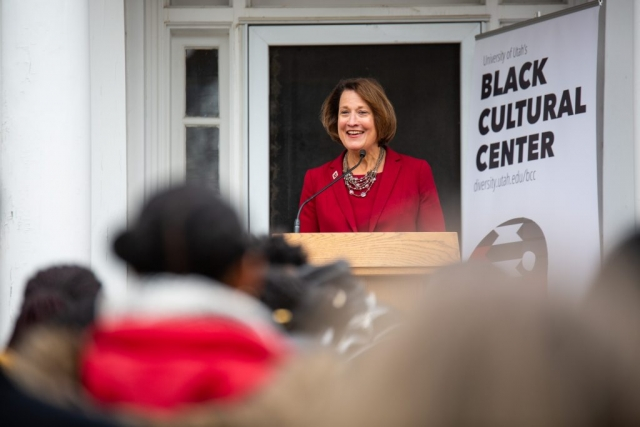 Ruth Watkins, President of the University of Utah at the opening of Black Cultural Center in Salt Lake City, Utah University of Utah, 95 Fort Douglas Blvd. (Bldg. 603)