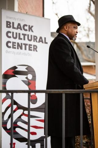 Steve Bell, Assistant Professor at the opening of the Black Cultural Center in Salt Lake City, Utah University of Utah, 95 Fort Douglas Blvd. (Bldg. 603)