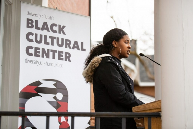 Alexis Baker, Black Student Union Member speaks at the Black Cultural Center in Salt Lake City, Utah University of Utah, 95 Fort Douglas Blvd. (Bldg. 603)