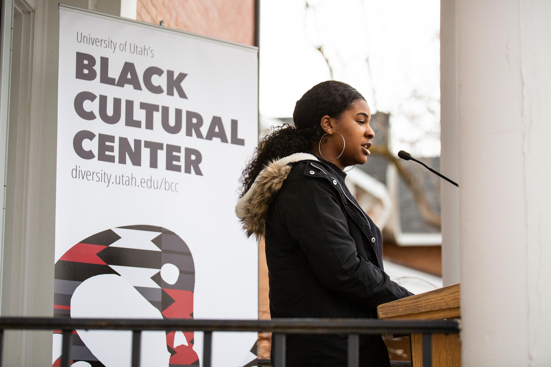 Alexis Baker, Black Student Union Member speaks at the Black Cultural Center in Salt Lake City, Utah University of Utah, 95 Fort Douglas Blvd. (Bldg. 603)