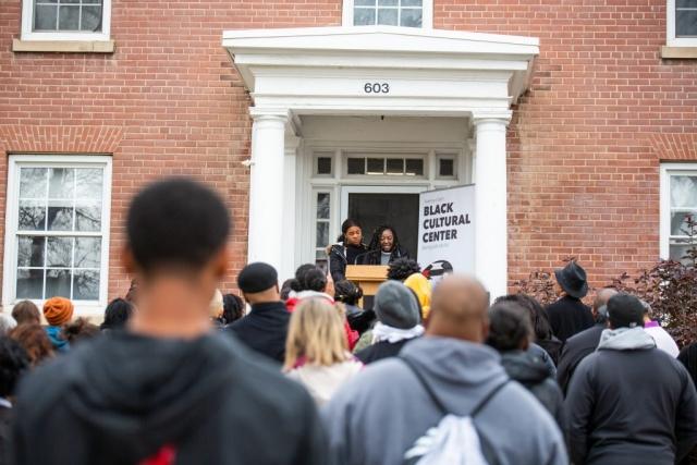 Barbara Kufiadan, Black Student Union Member speaks at the Black Cultural Center Open House