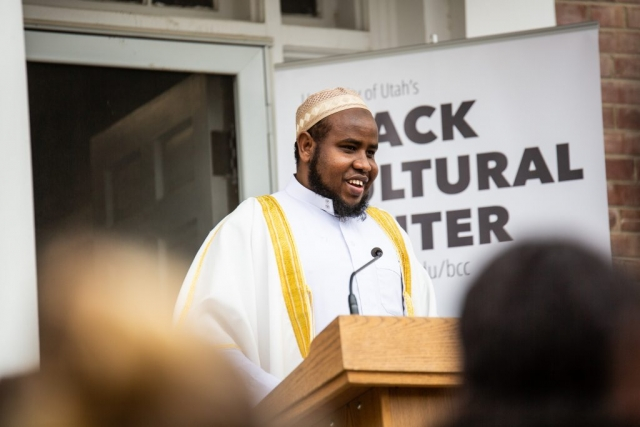 Sheikh Yussuf Abdi, Imam of the Madina Mosque speaks at the Black Cultural Center in Salt Lake City, Utah University of Utah, 95 Fort Douglas Blvd. (Bldg. 603)