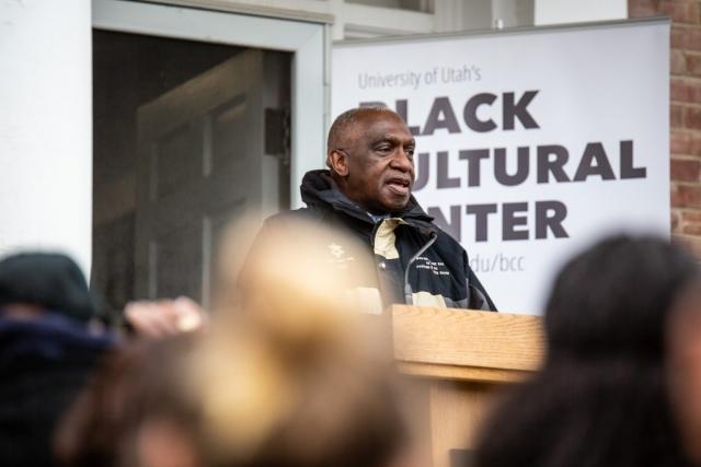 Pastor France A. Davis, Calvary Baptist Church, speaks at the Black Cultural Center in Salt Lake City, Utah University of Utah, 95 Fort Douglas Blvd. (Bldg. 603)