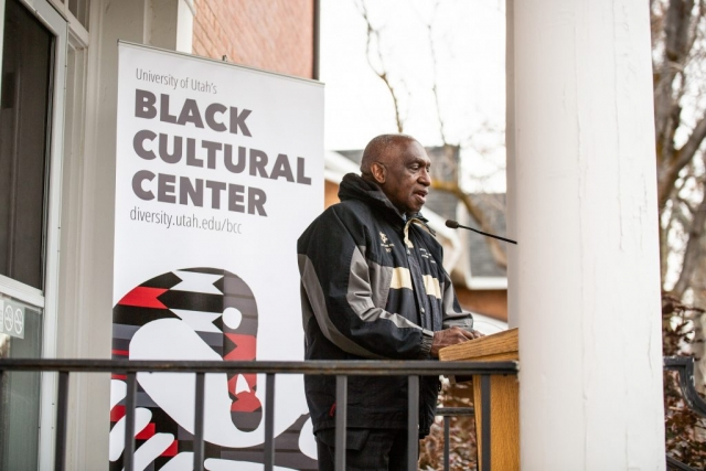 Pastor France A. Davis, Calvary Baptist Church, speaks at the Black Cultural Center in Salt Lake City, Utah University of Utah, 95 Fort Douglas Blvd. (Bldg. 603)