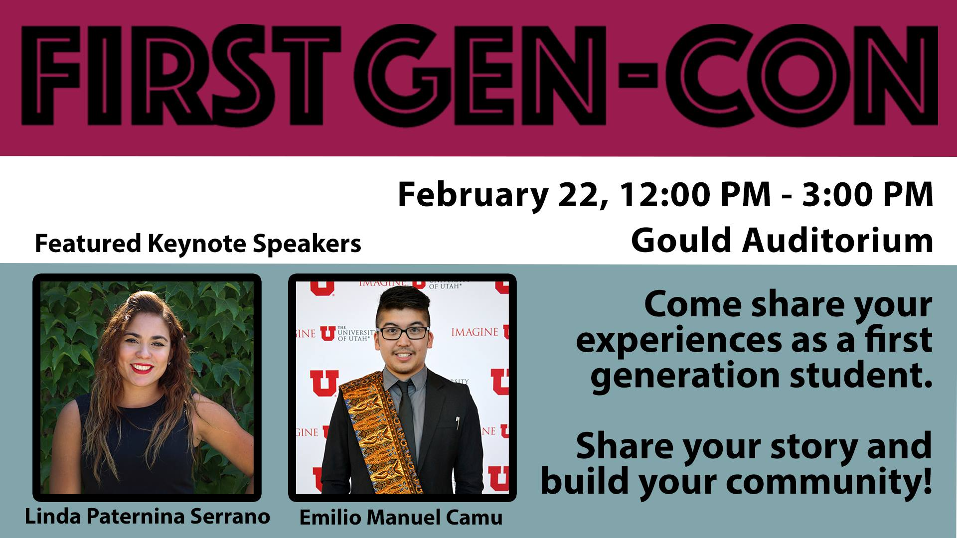Come share your experiences as a first generation student. Share your story and build your community!