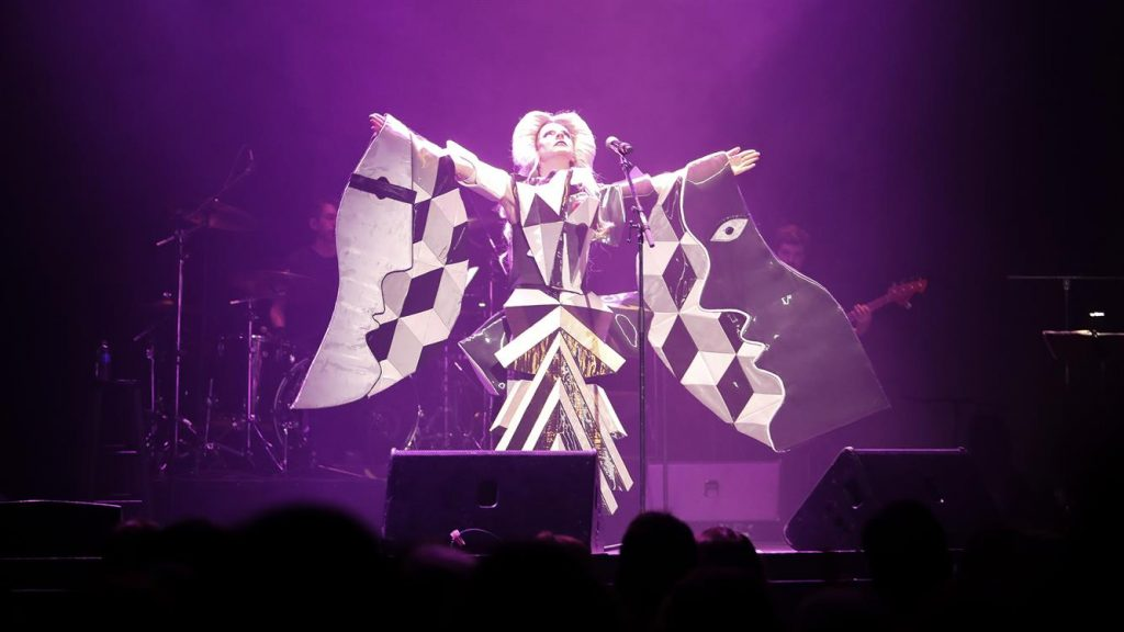 A photo of John Cameron Mitchell performing as the character Hedwig