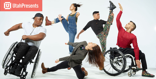 Photograph of five dancers from AXIS Dance Company captured in dynamic poses