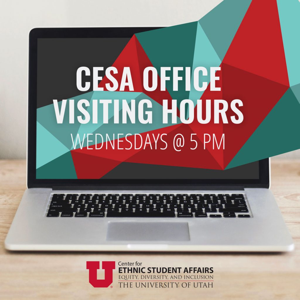 Attached is a graphic of a laptop with read and blue geometric shapes. The text reads, 'Transfer Visiting Hours, Wednesdays @ 5 PM; Center for Ethnic Student Affairs.'
