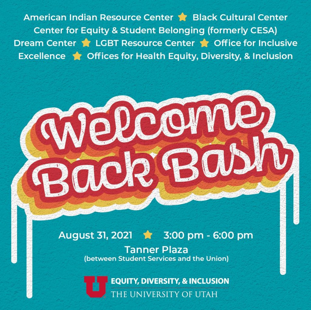 Welcome Back Bash; August 31, 3-6 pm